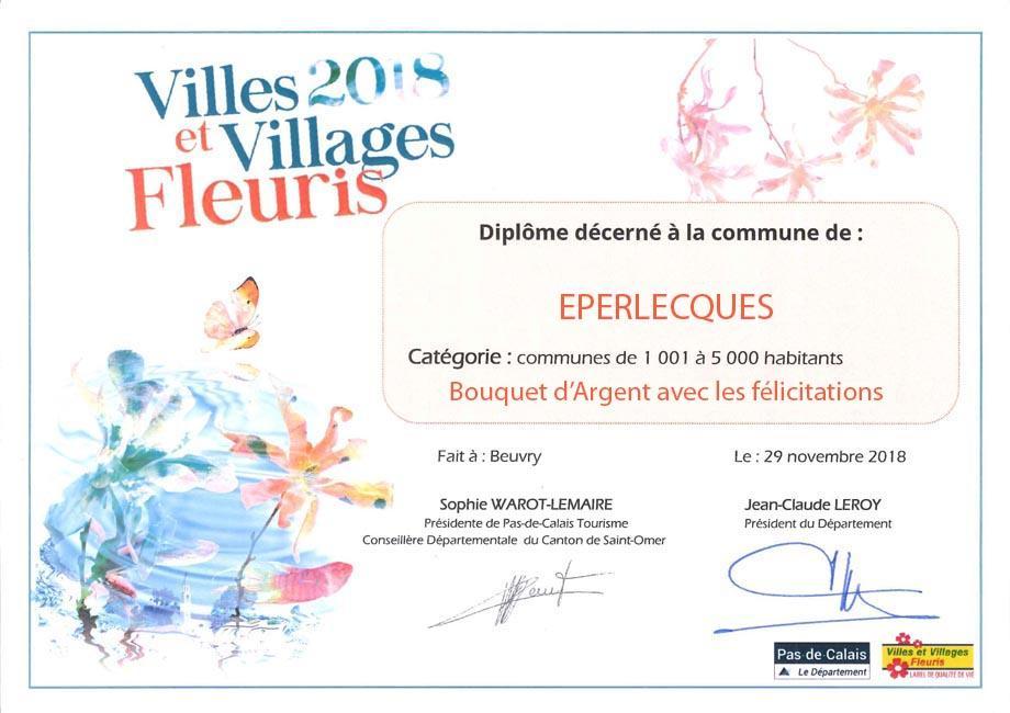 Diplome eperlecques village fleuri 2018