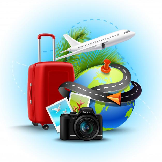 Fond vacances vacances valise globe realiste appareil photo 1284 10476
