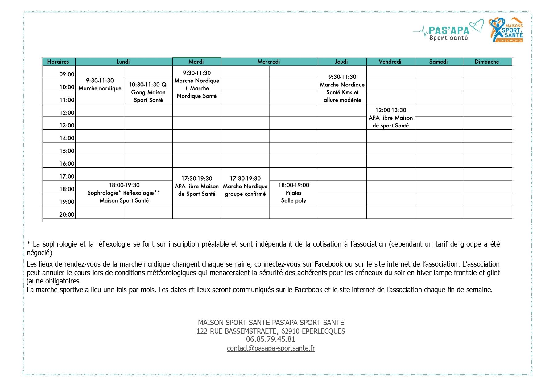 Planning asso et tarifs page 0001
