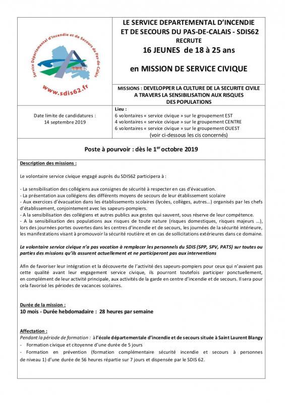 Service civique avis de vacance 2019